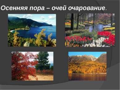 Осенняя пора – очей очарование.