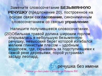 Замените словосочетание БЕЗЫМЯННУЮ РЕЧУШКУ (предложение 20), построенное на о...