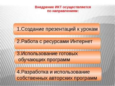 Направления использования ИКТ в начальной школе 1. Копилка уроков 2.Внеклассн...
