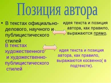В текстах официально-делового, научного и публицистического стилей идея текст...