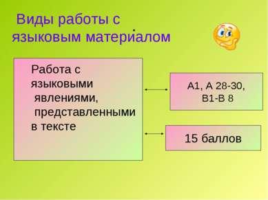 . А1, А 28-30, В1-В 8 15 баллов Работа с языковыми явлениями, представленными...