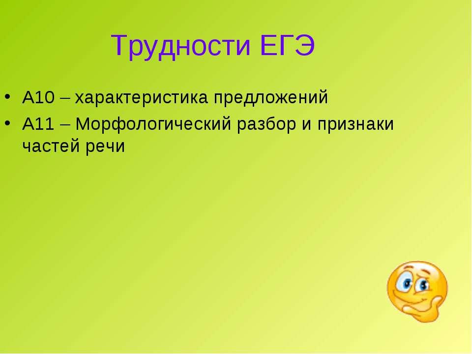 Трудности ЕГЭ А10 – характеристика предложений А11 – Морфологический разбор и...