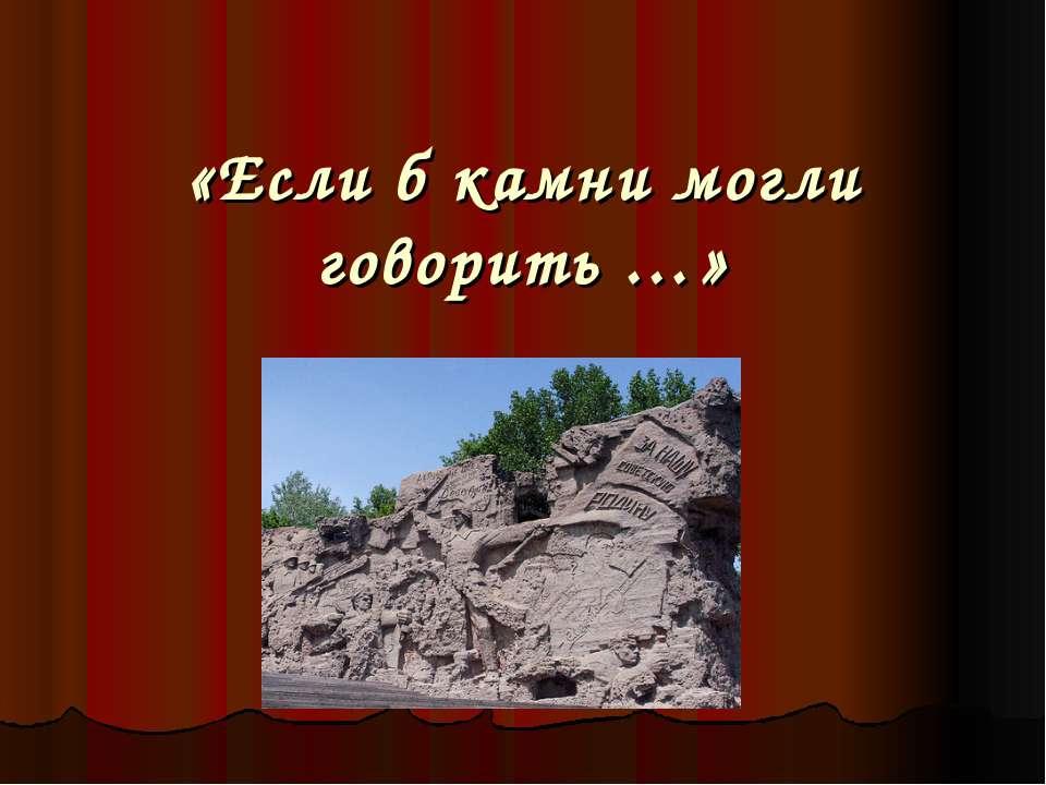 «Если б камни могли говорить …»