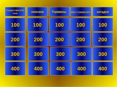 Существитель ное лексика загадки 100 100 100 100 200 200 200 200 300 300 300 ...