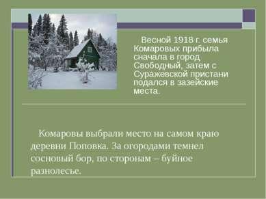 Комаровы выбрали место на самом краю деревни Поповка. За огородами темнел сос...