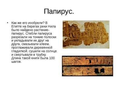 Папирус. Как же его изобрели? В Египте на берегах реки Нила было найдено раст...
