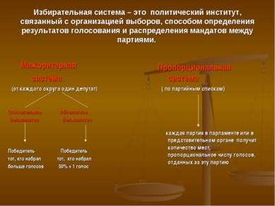 Избирательная система – это политический институт, связанный с организацией в...
