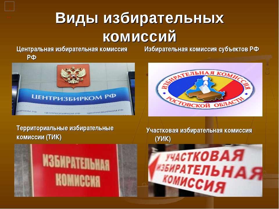 Виды избирательных комиссий Центральная избирательная комиссия РФ Избирательн...