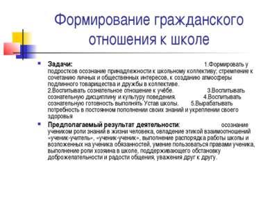 Формирование гражданского отношения к школе Задачи: 1.Формировать у подростко...