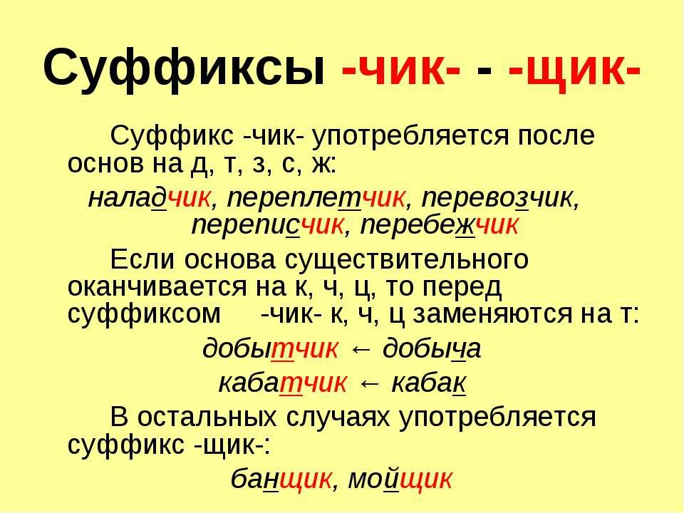 Суффиксы -чик- - -щик- Суффикс -чик- употребляется после основ на д, т, з, с,...