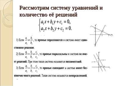 Рассмотрим систему уравнений и количество её решений
