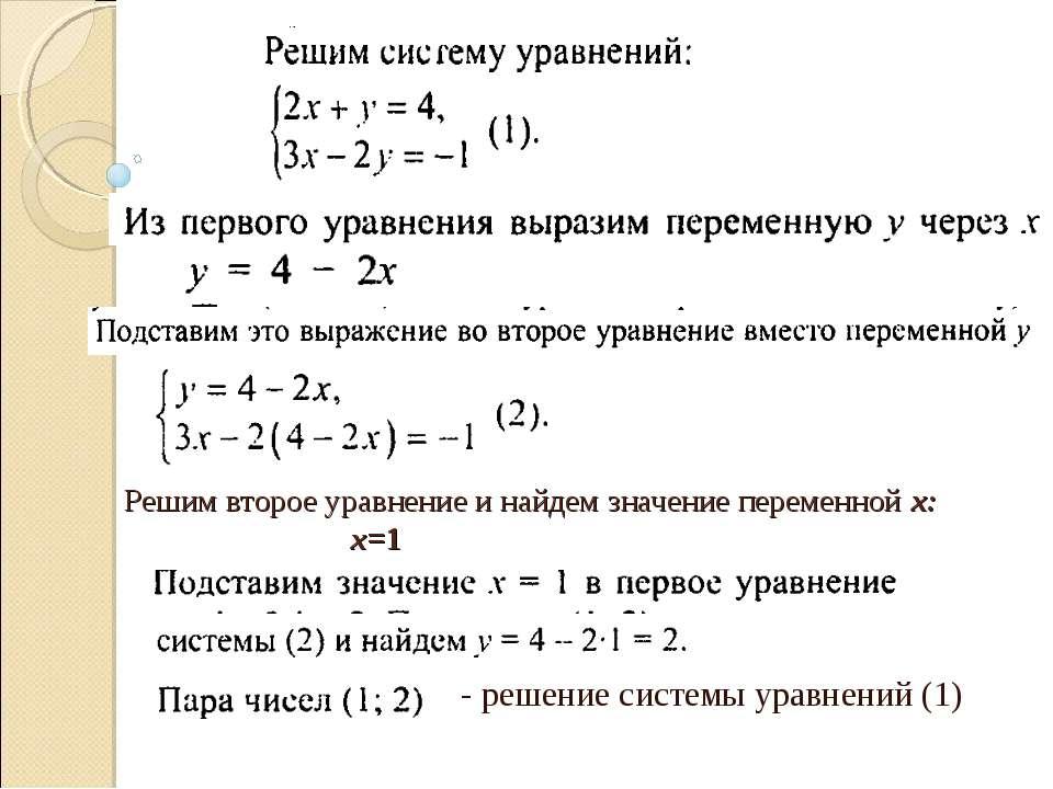 Решим второе уравнение и найдем значение переменной х: х=1 - решение системы ...