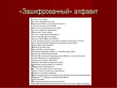 «Зашифрованный» алфавит