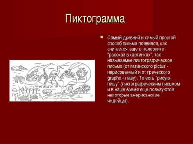 Пиктограмма Самый древний и самый простой способ письма появился, как считает...