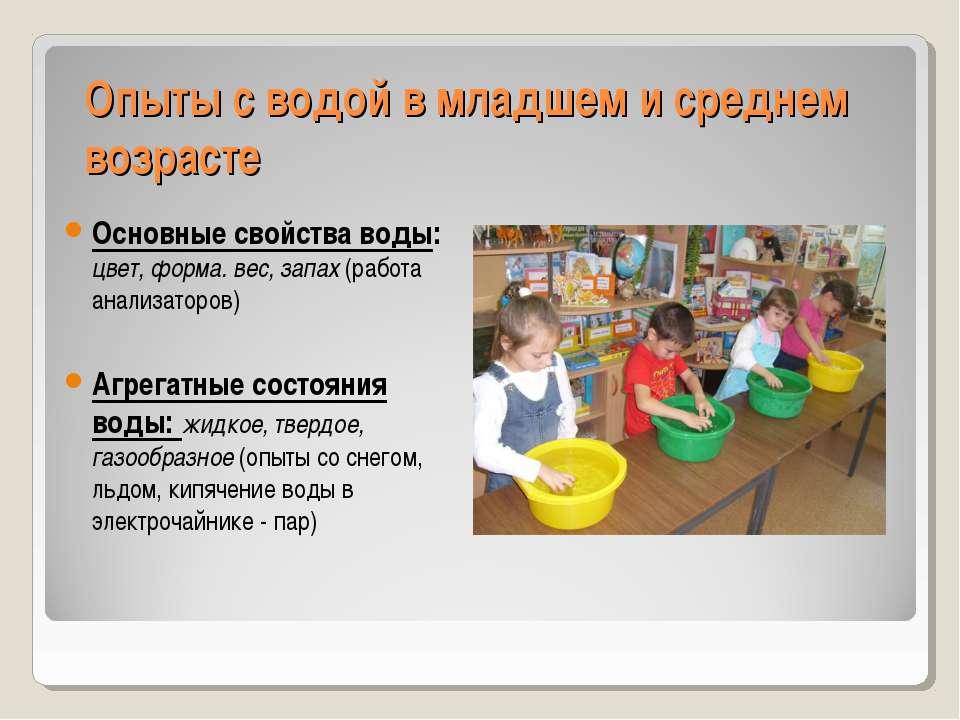 Опыты с водой в младшем и среднем возрасте Основные свойства воды: цвет, форм...