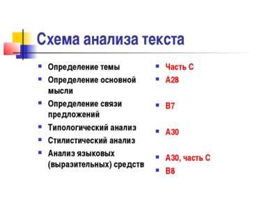 Схема анализа текста Определение темы Определение основной мысли Определение ...