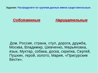 Задание: Распределите по группам данные имена существительные: Собственные На...
