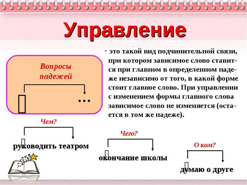 Управление это такой вид подчинительной связи, при котором зависимое слово ст...