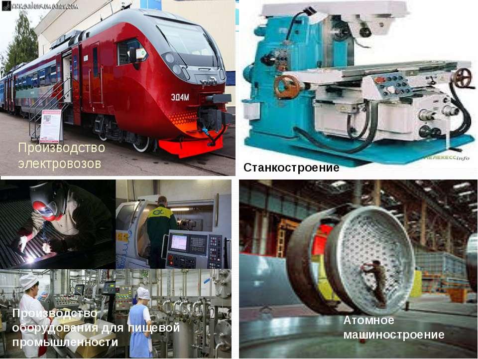 Атомное машиностроение Производство электровозов Станкостроение Производство ...