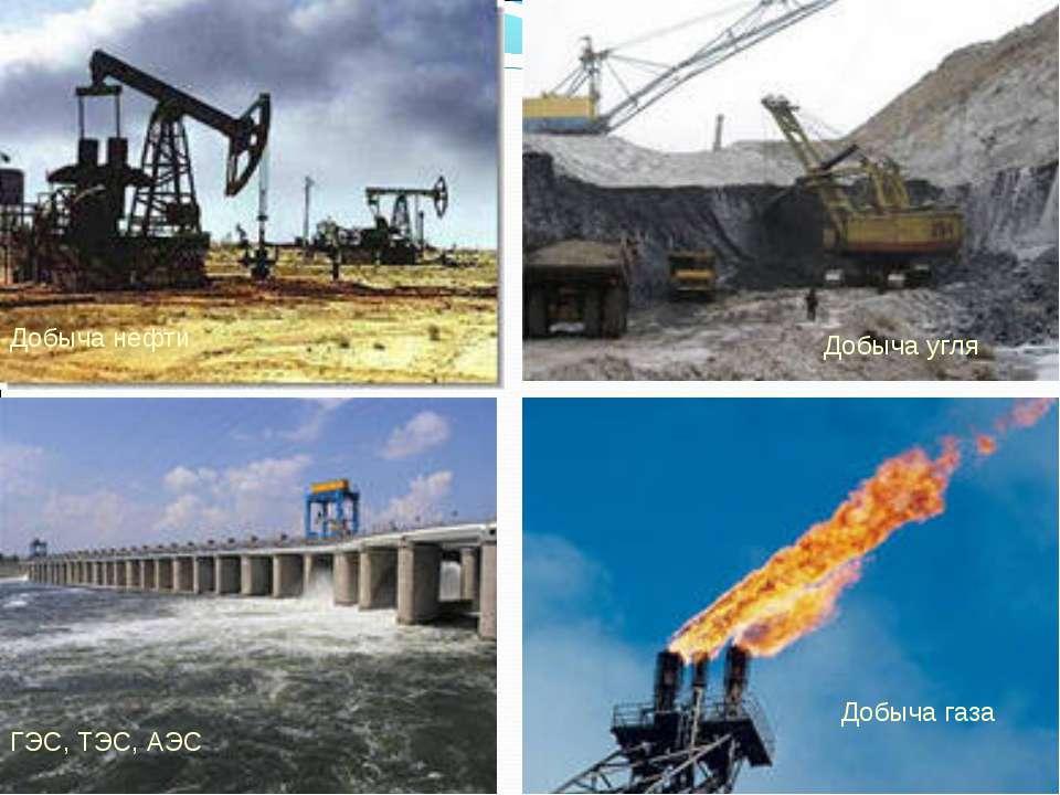 Добыча газа Добыча нефти Добыча угля ГЭС, ТЭС, АЭС