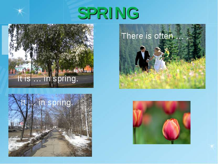 SPRING It is … in spring. It … in spring. There is often … .