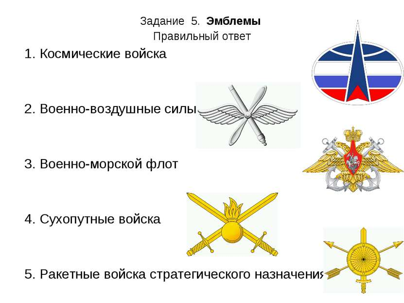 Задание 5. Эмблемы Правильный ответ Космические войска  2. Военно-воздушные ...