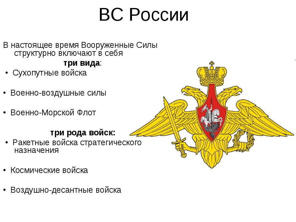 ВС России В настоящее время Вооруженные Силы структурно включают в себя три в...