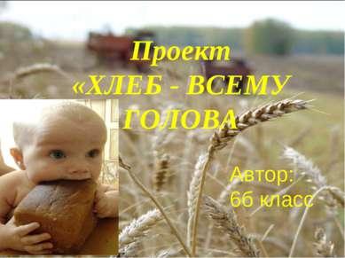 Проект «ХЛЕБ - ВСЕМУ ГОЛОВА Автор: 6б класс