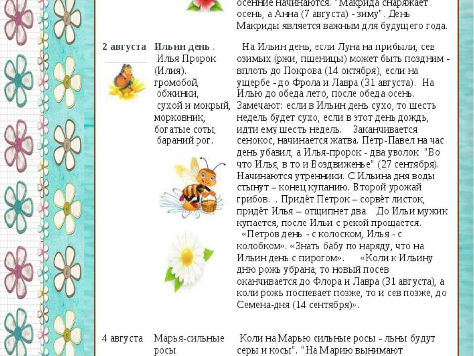 Заметные народные приметы июня Заметные народные приметы августа 1 августа Ма...