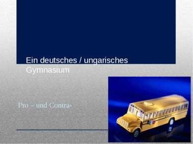Ein deutsches / ungarisches Gymnasium Pro – und Contra-