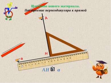 а Н А Изучение нового материала. Построение перпендикуляра к прямой IIIIIIIII...