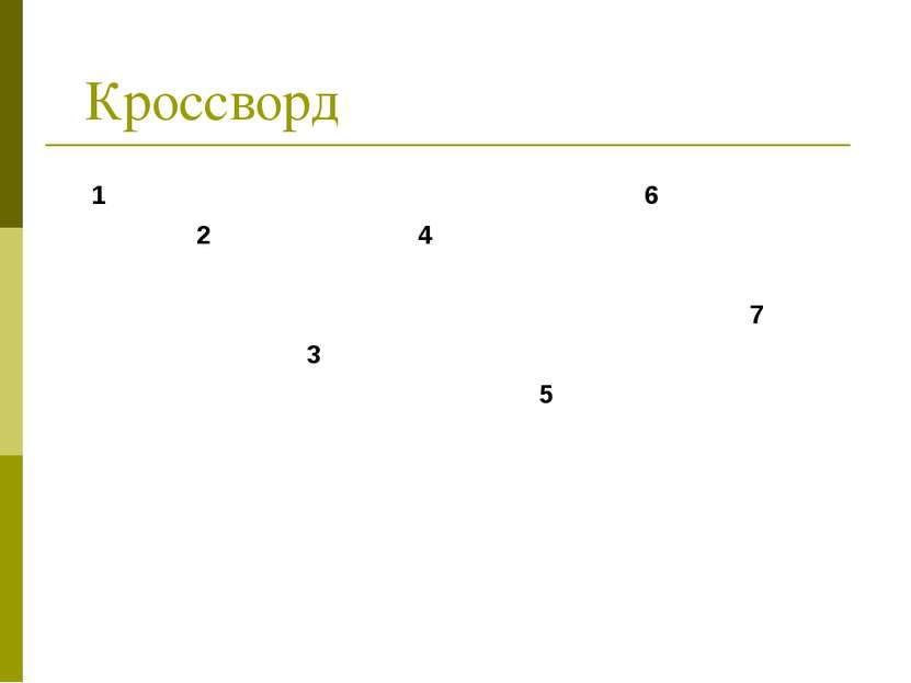 Кроссворд 1 6 2 4 7 3 5