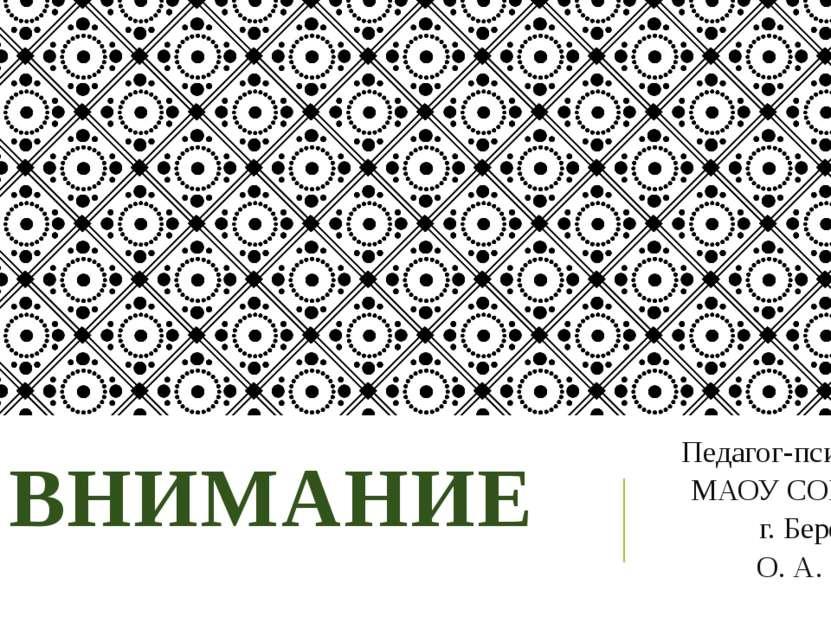 ВНИМАНИЕ Педагог-психолог МАОУ СОШ №2 г. Березники О. А. Гилева