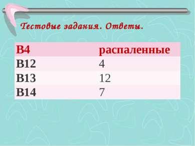 Тестовые задания. Ответы. B4 распаленные B12 4 B13 12 B14 7