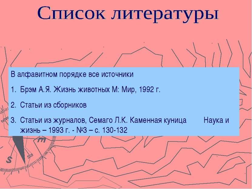 В алфавитном порядке все источники Брэм А.Я. Жизнь животных М: Мир, 1992 г. С...