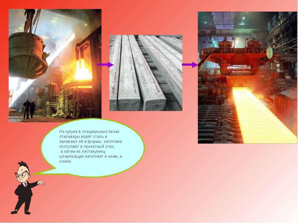 Из чугуна в специальных печах сталевары варят сталь и заливают её в формы. за...