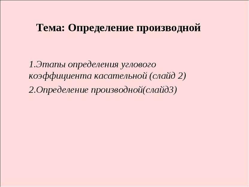 Тема: Определение производной 1.Этапы определения углового коэффициента касат...