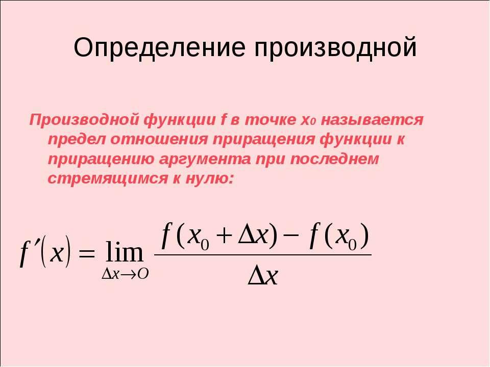 Определение производной Производной функции f в точке х0 называется предел от...
