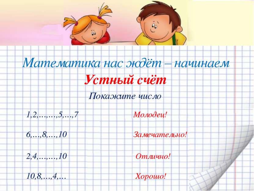 Математика нас ждёт – начинаем Устный счёт Покажите число 1,2,…,…,5,…,7 Молод...