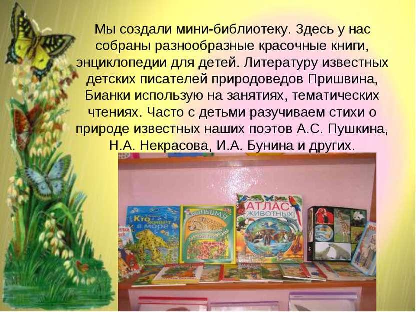 Мы создали мини-библиотеку. Здесь у нас собраны разнообразные красочные книги...