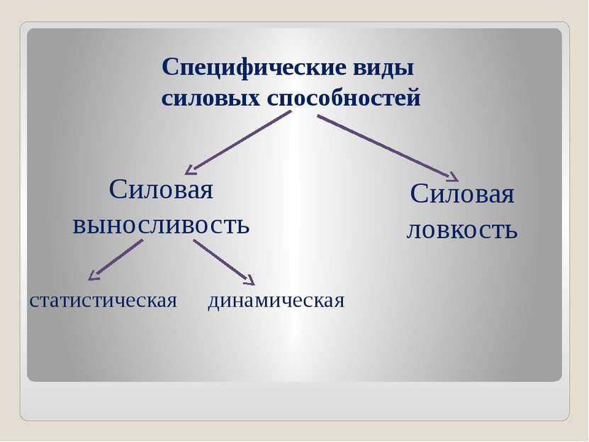 Специфические виды силовых способностей Силовая выносливость Силовая ловкость...