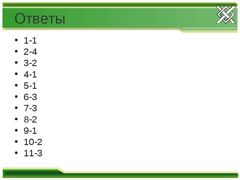 Ответы 1-1 2-4 3-2 4-1 5-1 6-3 7-3 8-2 9-1 10-2 11-3