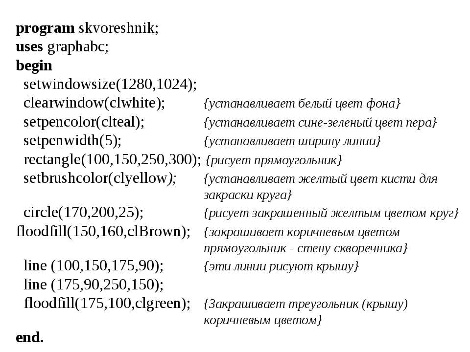 program skvoreshnik; uses graphabc; begin setwindowsize(1280,1024); clearwind...