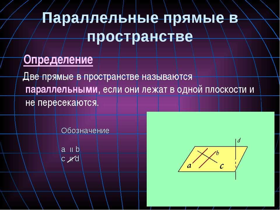 Параллельные прямые в пространстве Определение Две прямые в пространстве назы...