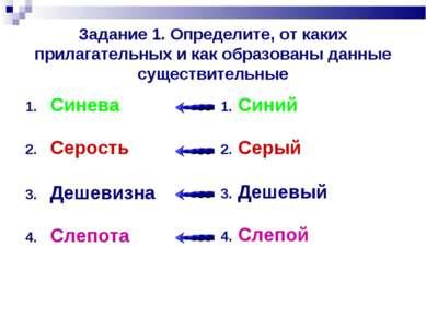 Задание 1. Определите, от каких прилагательных и как образованы данные сущест...