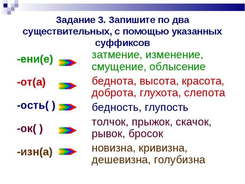 Задание 3. Запишите по два существительных, с помощью указанных суффиксов зат...