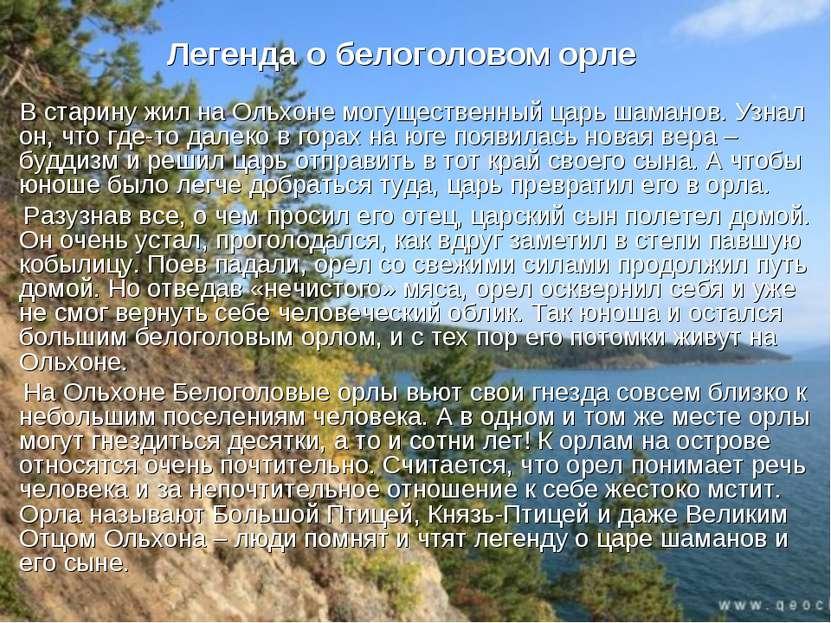 Легенда о белоголовом орле В старину жил на Ольхоне могущественный царь шаман...