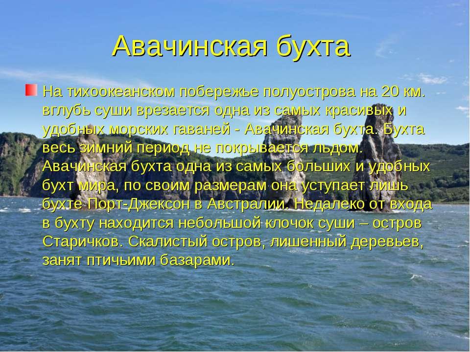 Авачинская бухта На тихоокеанском побережье полуострова на 20 км. вглубь суши...