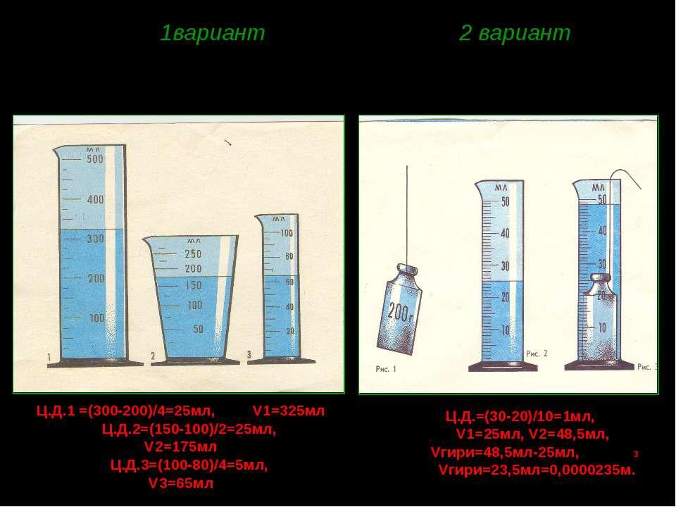 1вариант 2 вариант 5. Определите цену деления мензурок и объем воды в каждой ...