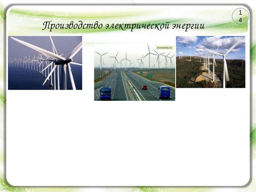Производство электрической энергии ВЭС Преимущества ВЭС Недостатки 14